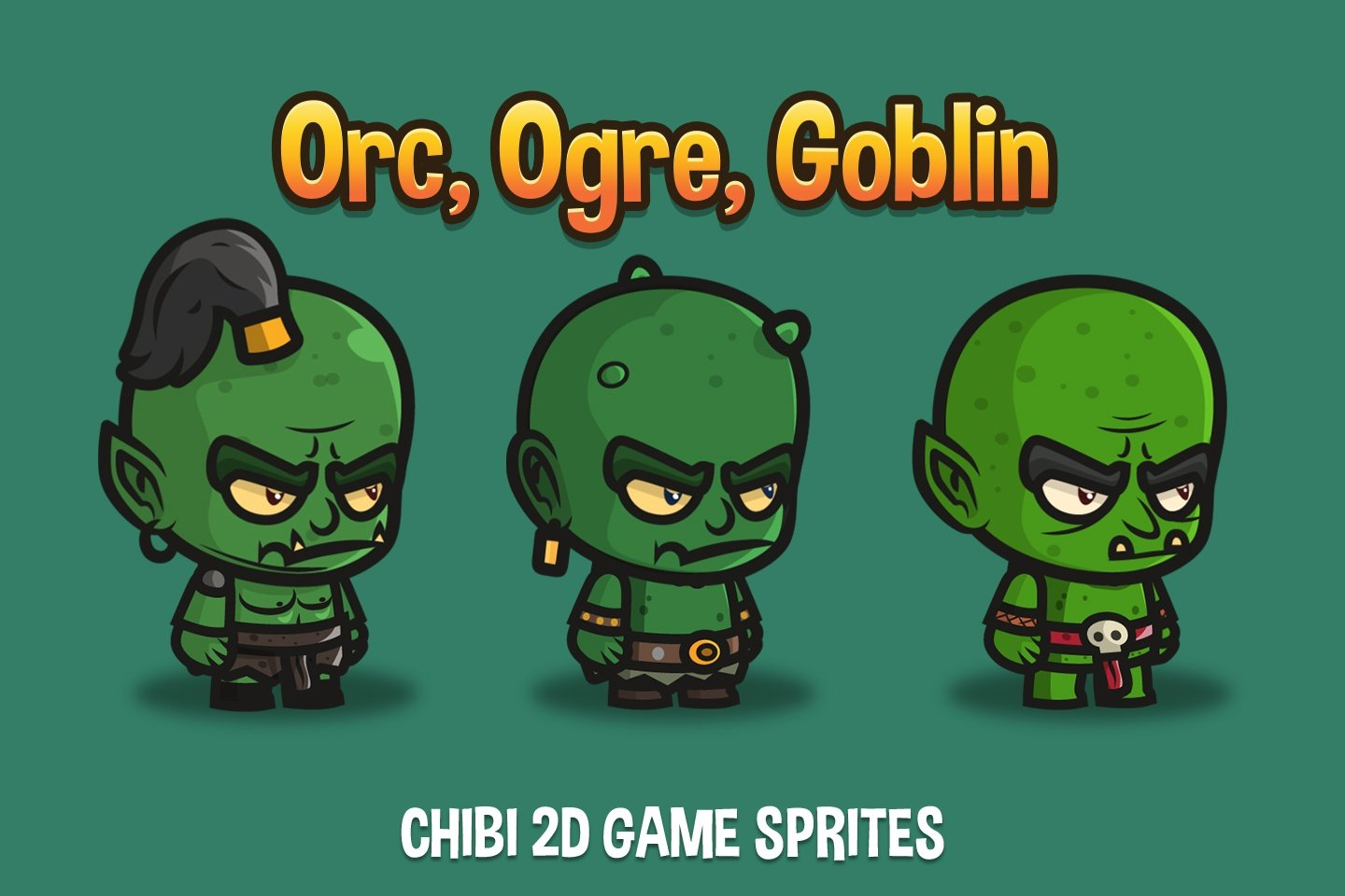 Free Orc, Ogre and Goblin Chibi 2D Game Sprites