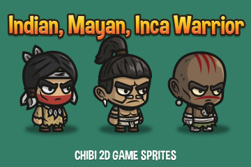 Indian, Mayan and Inca Warrior Chibi 2D Game Sprites
