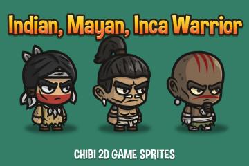 Indian, Mayan and Inca Warrior Chibi 2D Game Sprites