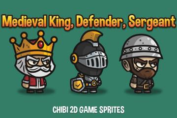 Medieval King, Defender and Sergeant Chibi 2D Game Sprites