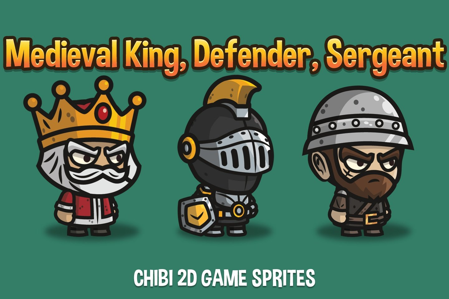 Medieval King, Defender and Sergeant Chibi 2D Game Sprites