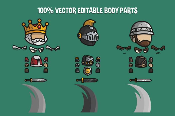 Medieval-King-Defender-and-Sergeant-Chibi-2D-Game-Sprites