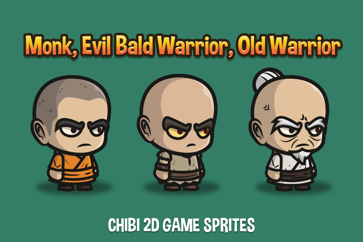 Monk, Evil Bald Warrior and Old Warrior Chibi 2D Sprites