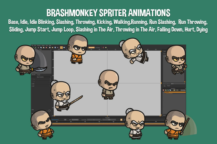 Monk-Evil-Bald-Warrior-and-Old-Warrior-Chibi-2D-Sprites