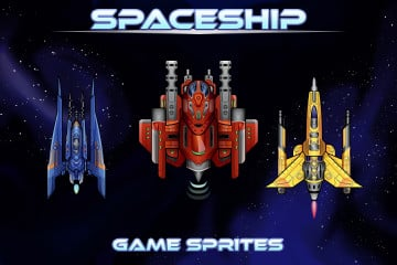 Spaceship 2D Game Sprites