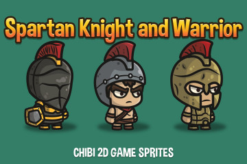 Spartan Knight and Warrior Chibi 2D Game Sprites