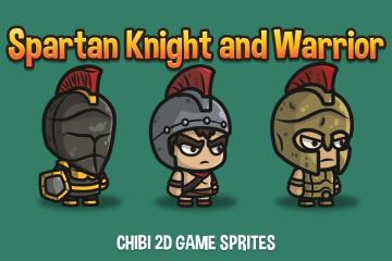 Spartan Knight and Warrior Chibi 2D Game Sprites