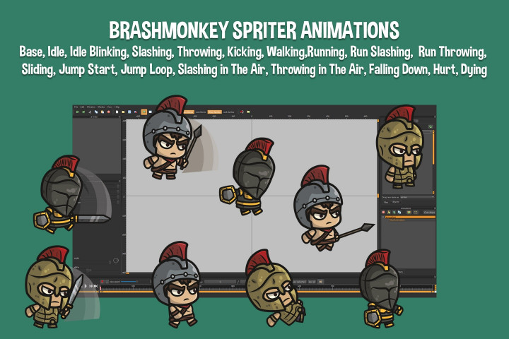 Spartan-Knight-and-Warrior-Chibi-2D-Game-Sprites