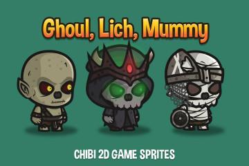Ghoul, Lich, Mummy Chibi 2D Game Sprites