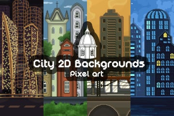 Pixel Art Game City Backgrounds