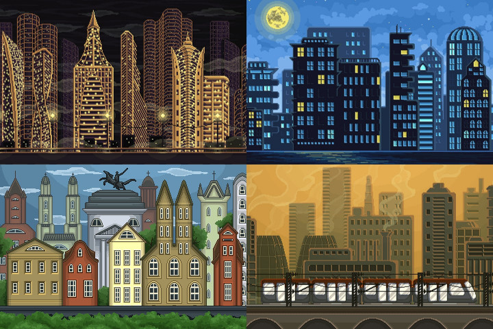 Pixel Art Game City Backgrounds - CraftPix.net