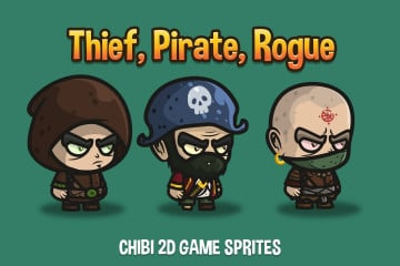 Thief, Pirate, Rogue Chibi 2D Game Sprites