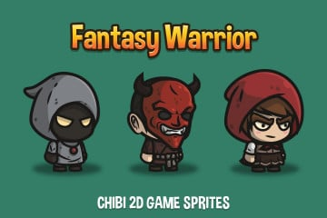 Fantasy Warrior Chibi 2D Game Sprites
