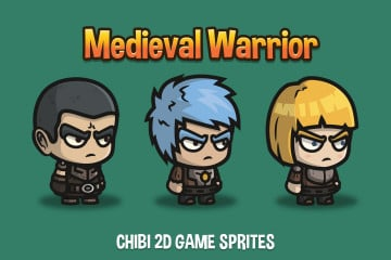 Medieval Warrior Chibi 2D Game Sprites