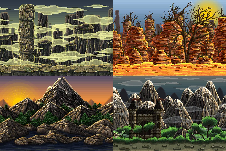 Mountain-Pixel-Art-2D-Game-Backgrounds2 Awesome 2d Pixel Art Game @koolgadgetz.com.info