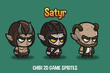 Satyr Chibi 2D Game Sprites