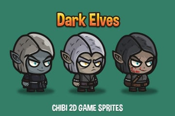 Dark Elves Chibi 2D Game Sprites