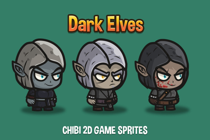 Dark-Elves-Chibi-2D-Game-Sprites