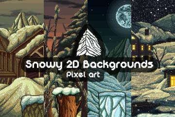 Parallax Snowy 2D Pixel Art Backgrounds