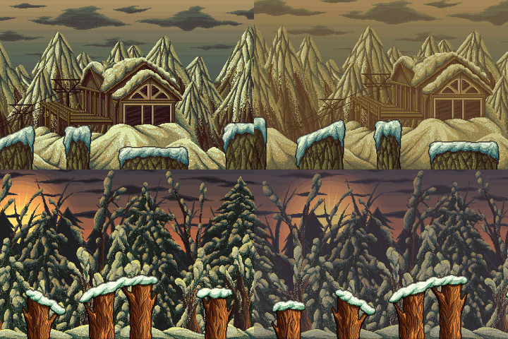 Parallax-Snowy-2D-Pixel-Art-Backgrounds
