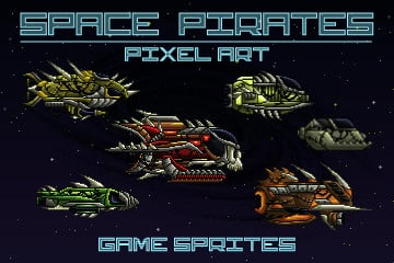 Pixel Art Space Pirates 2D Game Sprites