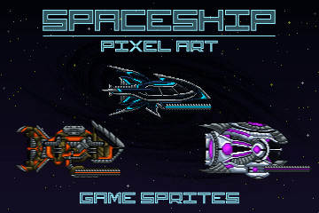 Pixel Art Spaceship 2D Game Sprites