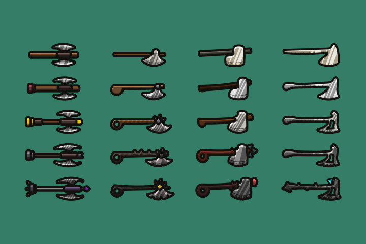 Axes-2D-Weapon-Pack