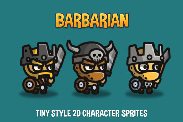 Barbarian Tiny Style 2D Character Sprites