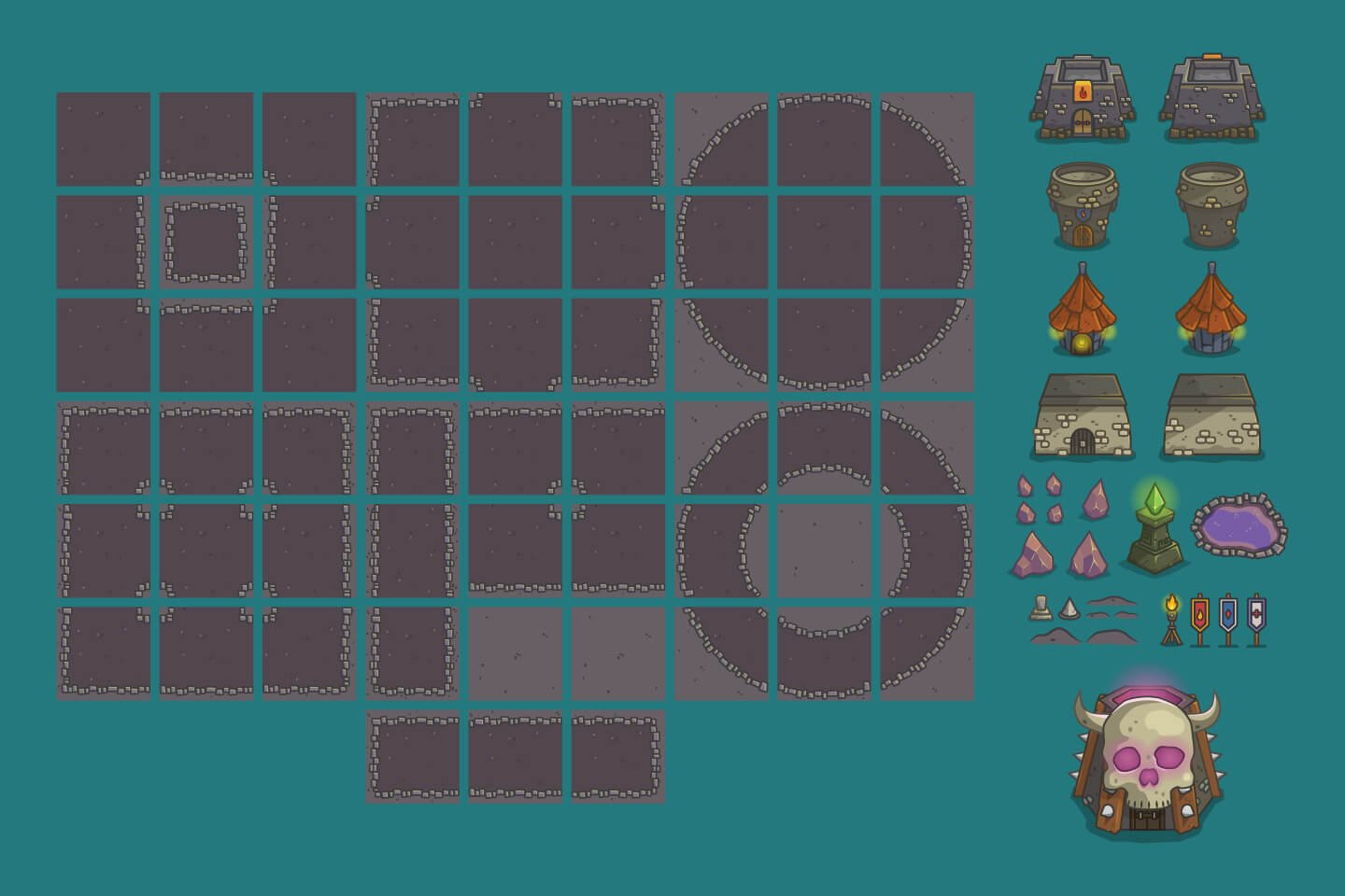Dungeon Top Down 2D Game Tileset