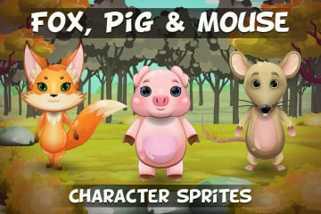 Fox, Pig and Mouse 2D Game Sprites