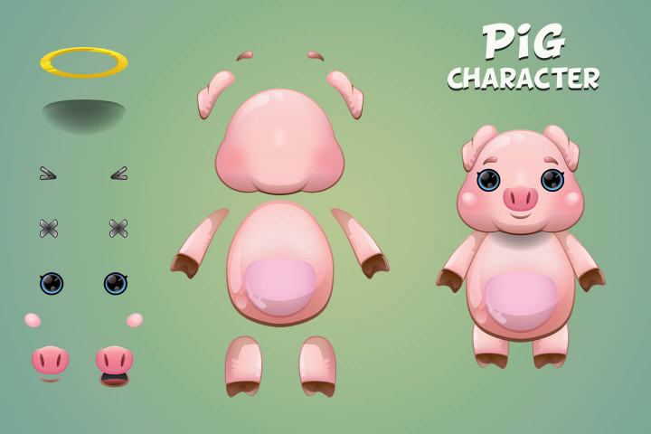 Fox-Pig-and-Mouse-2D-Game-Sprites