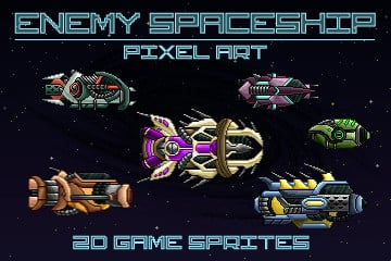 Free Pixel Art Enemy Spaceship 2D Sprites