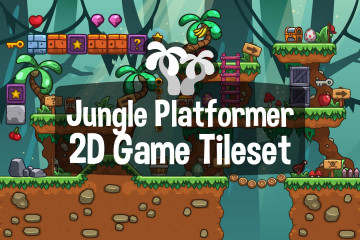 Jungle Platformer 2D Game Tileset