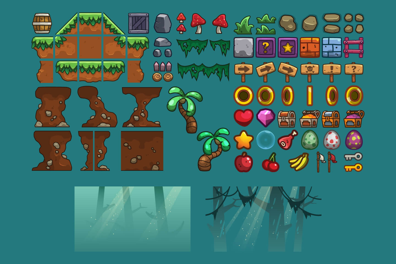 Jungle Platformer 2D Game Tileset
