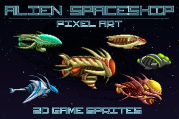 Pixel Art Alien Spaceship 2D Game Sprites