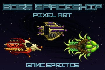 Pixel Art Boss Spaceship 2D Game Sprites