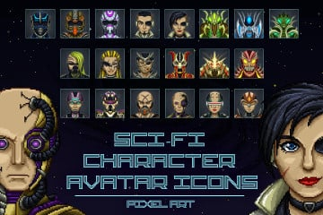 Pixel Art SCI-FI Character Avatar Icons