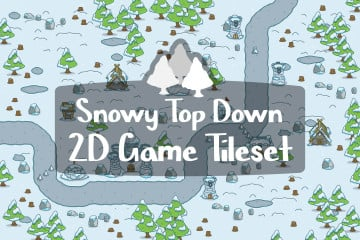 Snowy Top Down 2D Game Tileset