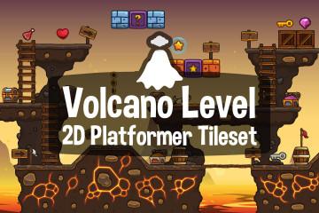 Volcano Level 2D Platformer Tileset