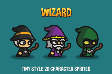 Wizard Tiny Style 2D Character Sprites