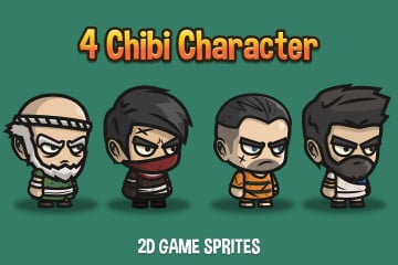 4 Chibi Character 2D Sprites