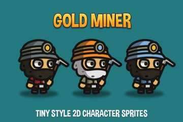Gold Miner Tiny Style 2D Character Sprites