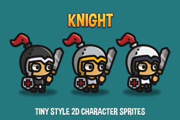 Knight Tiny Style 2D Character Sprites