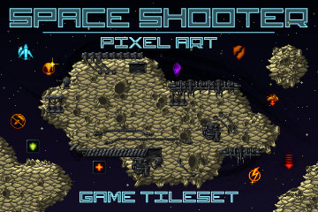Pixel Art Space Shooter Game Tileset