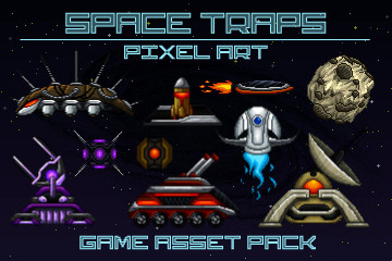 Pixel Art Space Trap Game Asset Pack