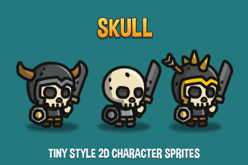 Skull Tiny Style 2D Character Sprites
