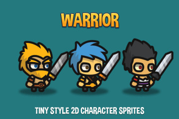 Warrior Tiny Style 2D Character Sprites