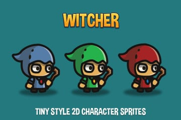 Witcher Tiny Style 2D Character Sprites