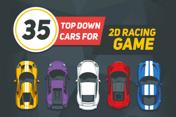 35 Top Down Cars for 2D Racing Game