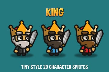 King Tiny Style 2D Character Sprites